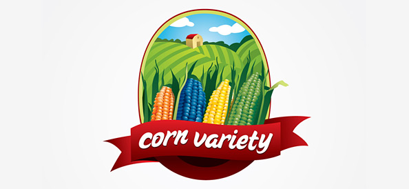 Nature Vector Logo with Corns, Earth and Sky