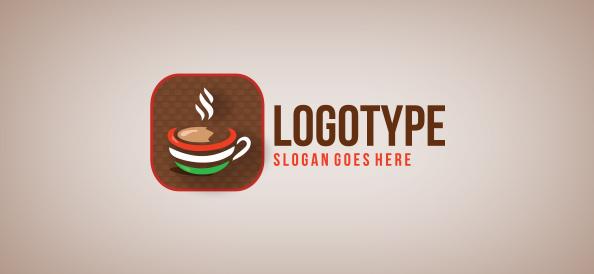 Italian Coffee Shop Logos Italian Coffee in a Shape Logo