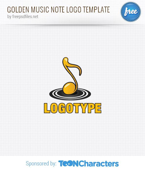 Golden Music Note Logo Template