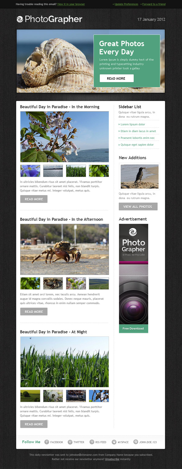 Free Html Email Template PhotoGrapher Preview