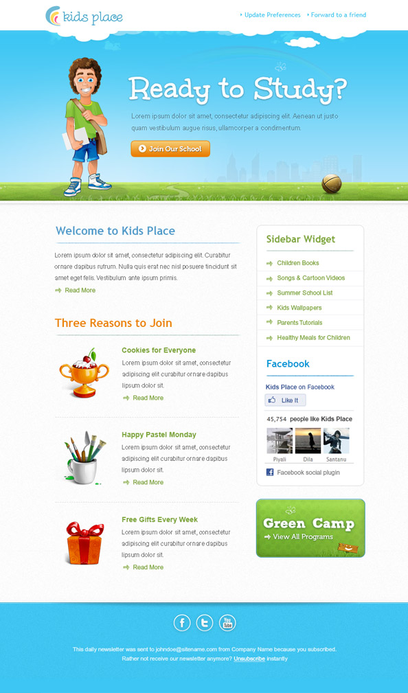 Kids Newsletter Template - Free Mail Templates