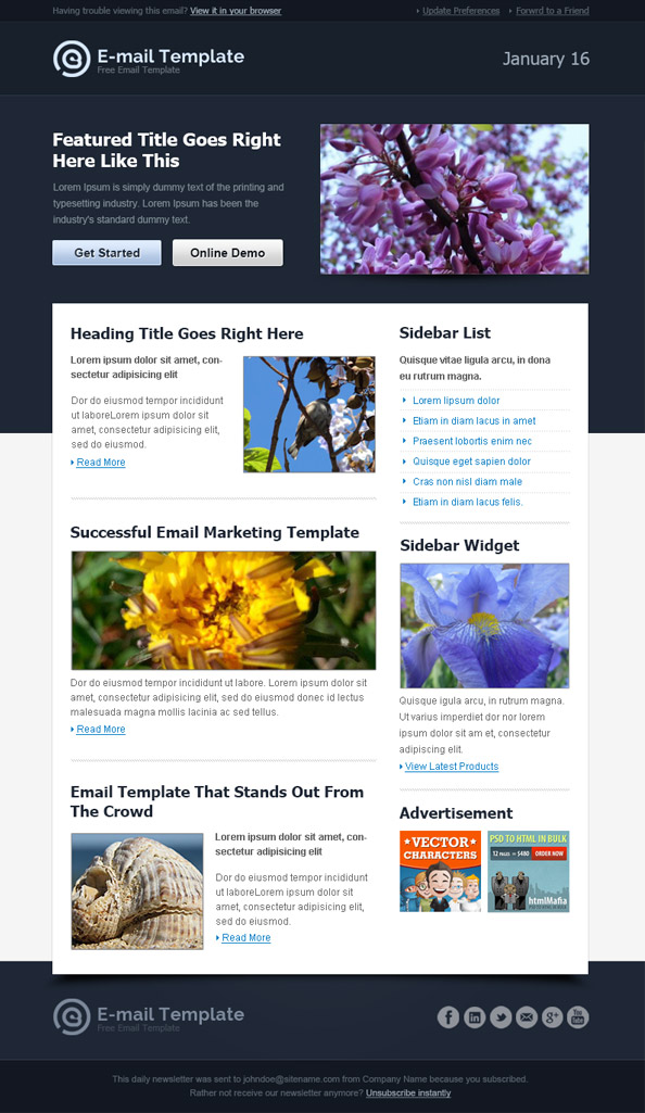 emailer template html
