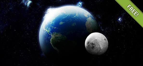 3D Earth and Moon for adobe photoshop