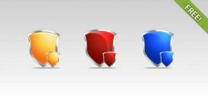 3 Free Shield PSD Icons