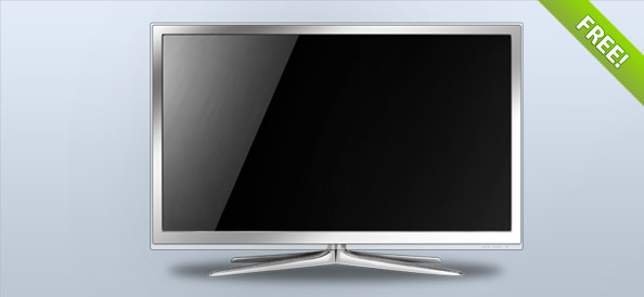 White LCD TV – Layered  PSD