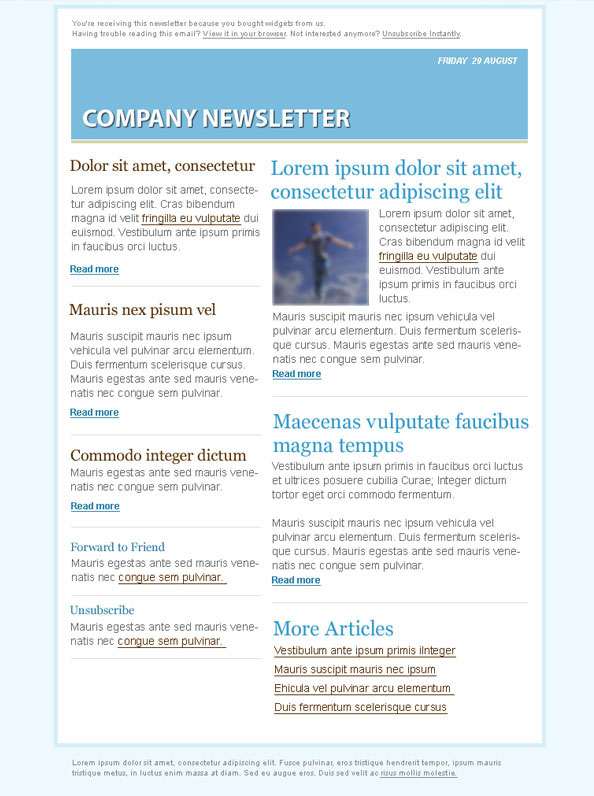 Blue Email Marketing Newsletter Template - Free PSD Files - company newsletter template free