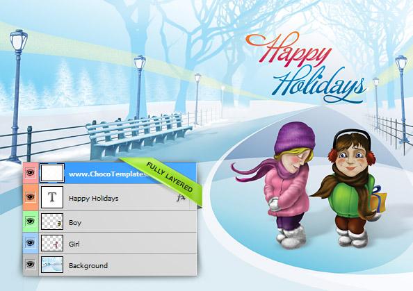 Christmas Holiday Card PSD Template - Free PSD Files - free xmas card template