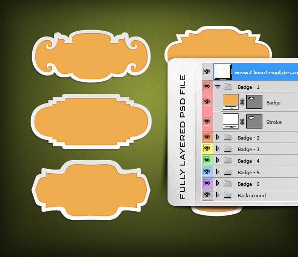 Fully Layered PSD Badge Templates
