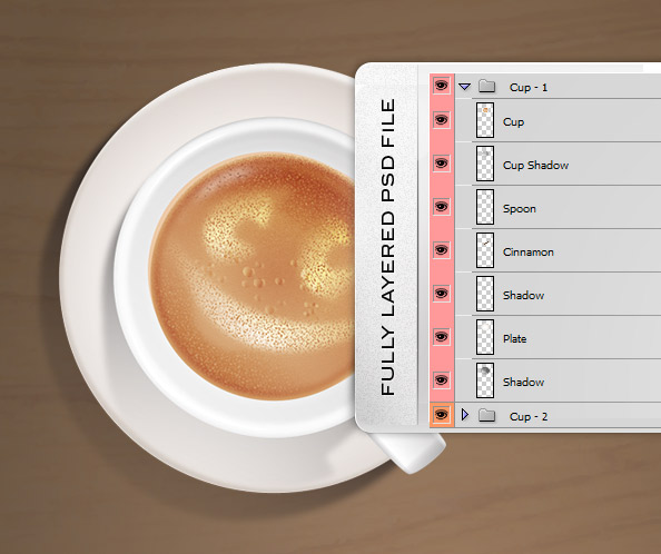 Fully Layered Coffee  Cups PSD Graphic