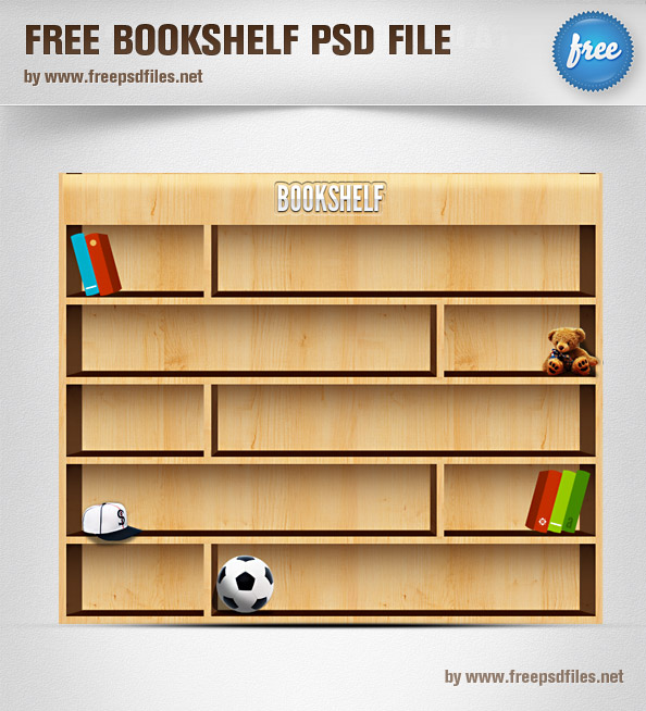 Bookshelf PSD Illustration Preview