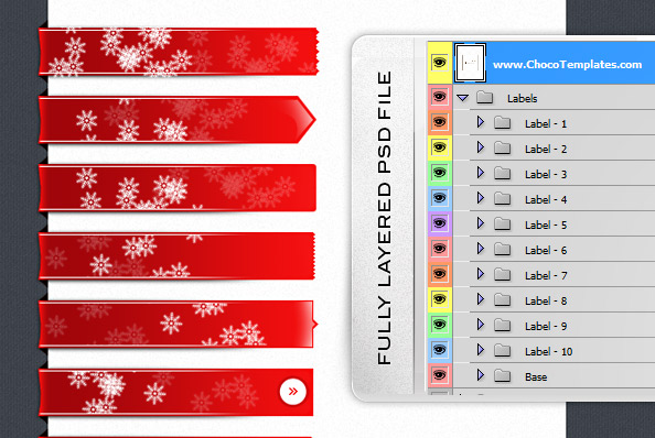 Fully Layered Holiday Label PSD Set