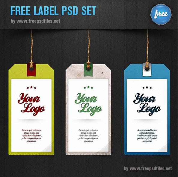 Label PSD Set - 3 Tag Templates - Free PSD Files
