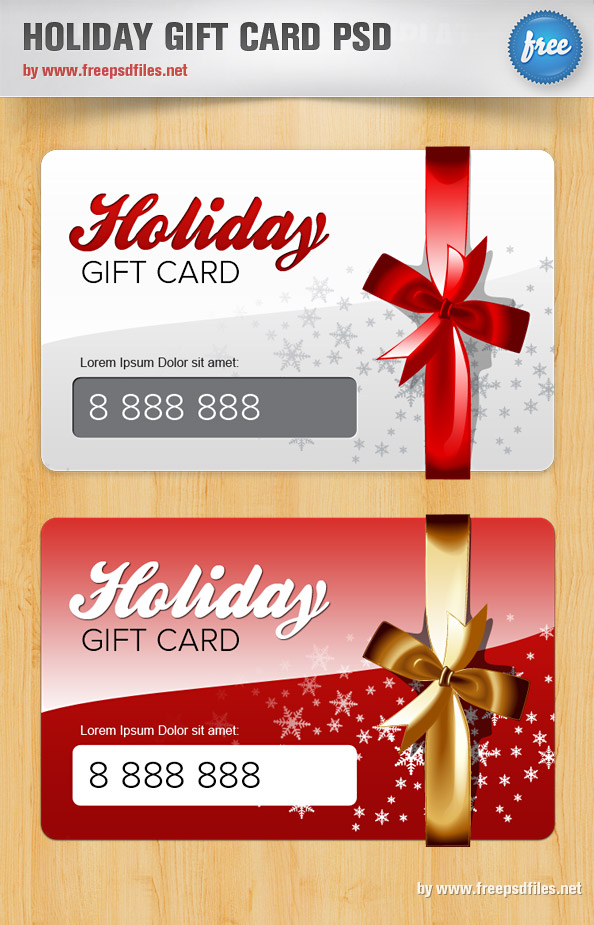 Holiday Gift Card PSD Template - Free PSD Files - christmas gift card templates free