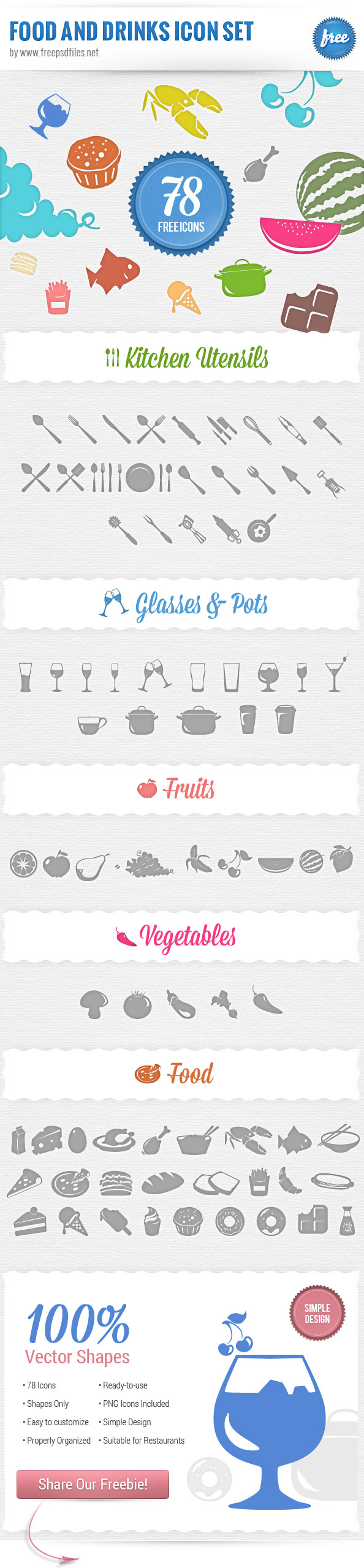 Food Icons PSD Set Preview