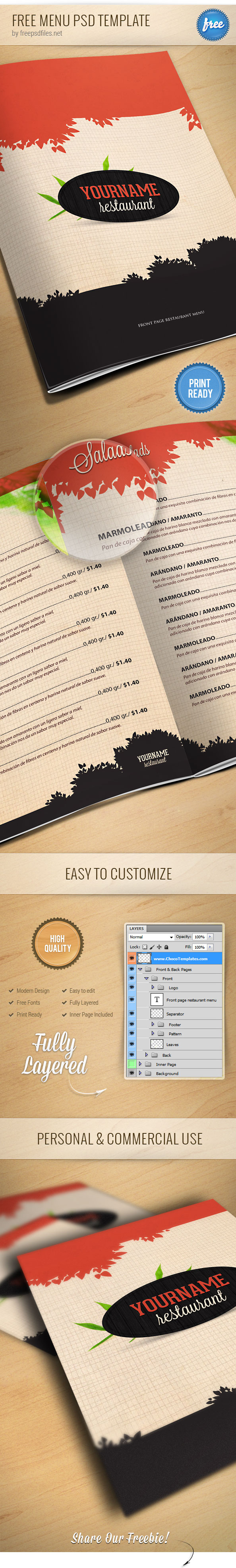 Restaurant menu psd template free psd files for Restaurant menu psd