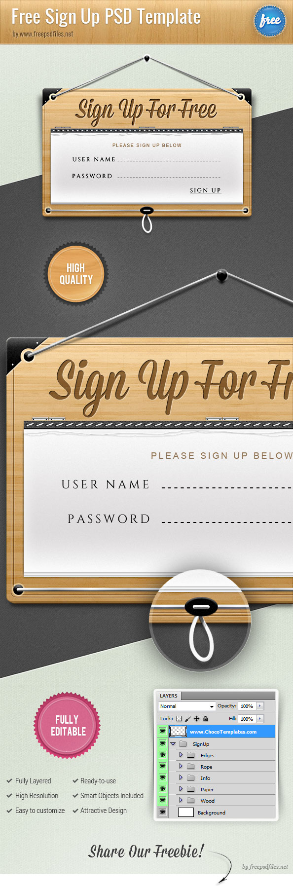 Sign Up Form PSD Template Preview