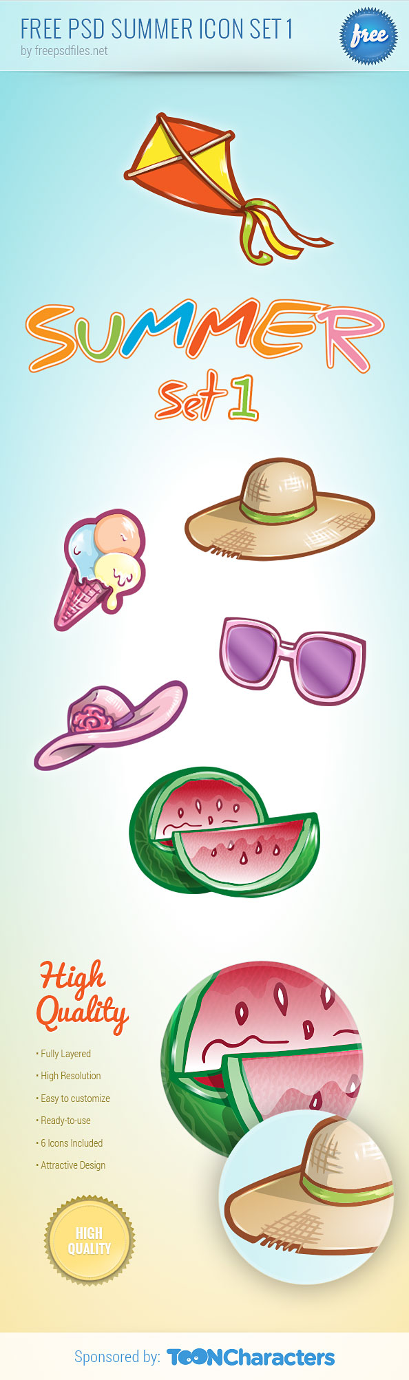 Free PSD Summer Icon Set Preview