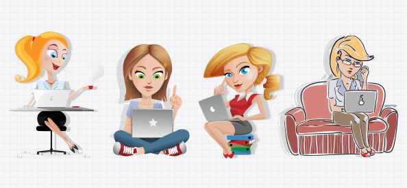 Vector Women with Laptop Set
