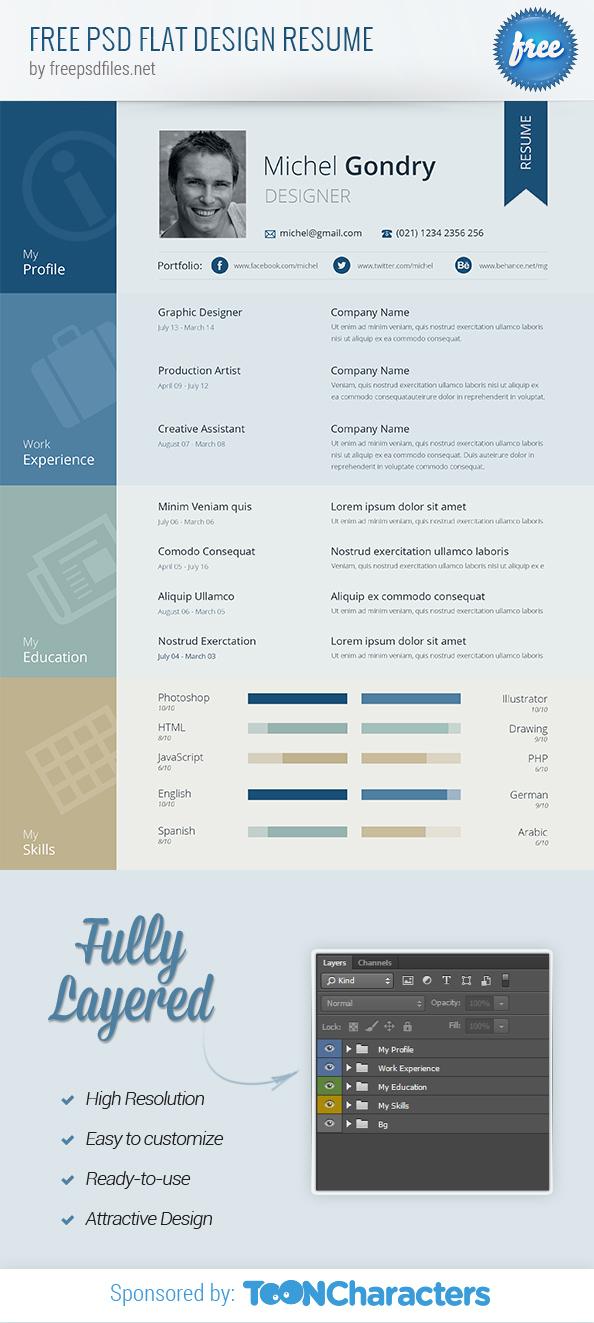free psd flat design resume free psd files