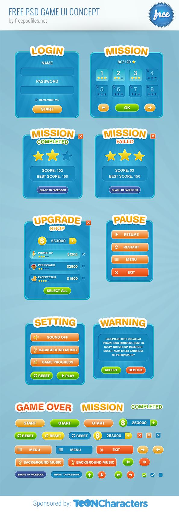 Free PSD Game UI Concept