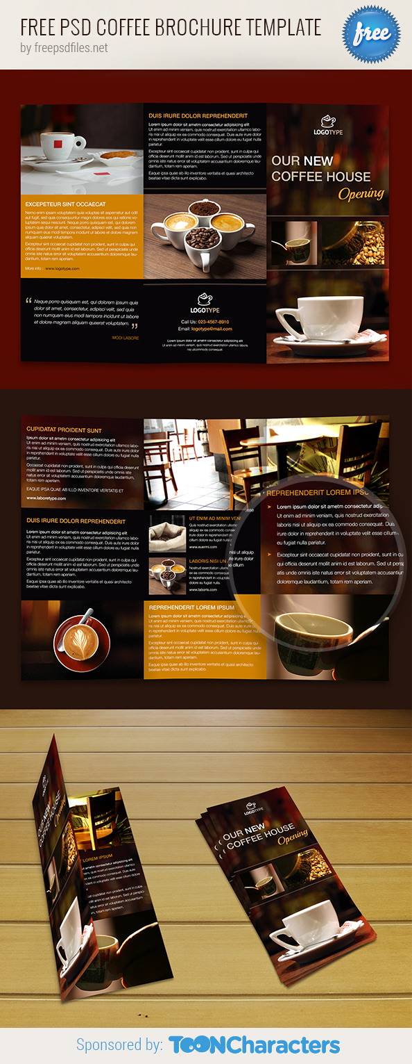 Free psd coffee brochure template free psd files for Photoshop template brochure