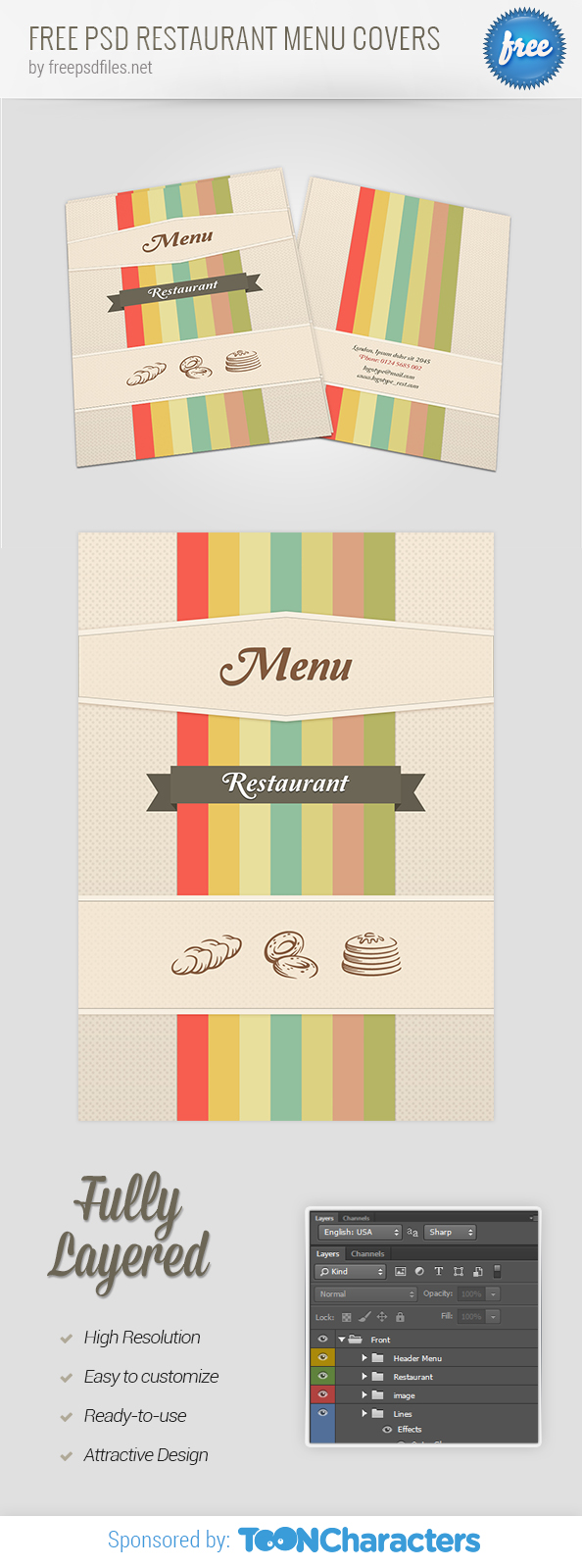 Free PSD Restaurant Menu Covers