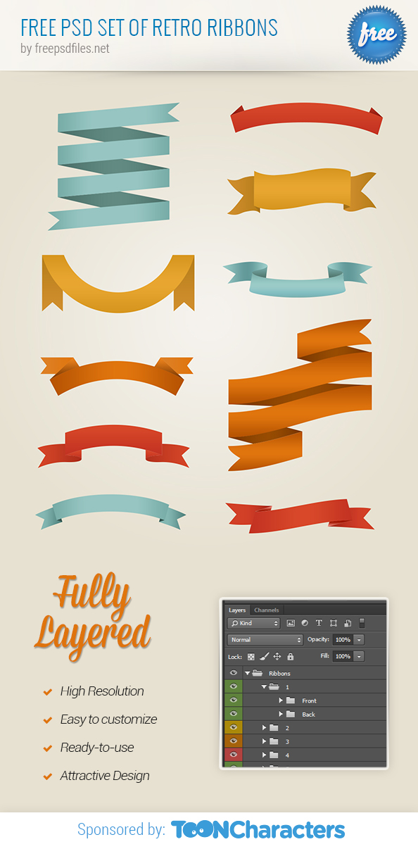 Free PSD Set of retro ribbons