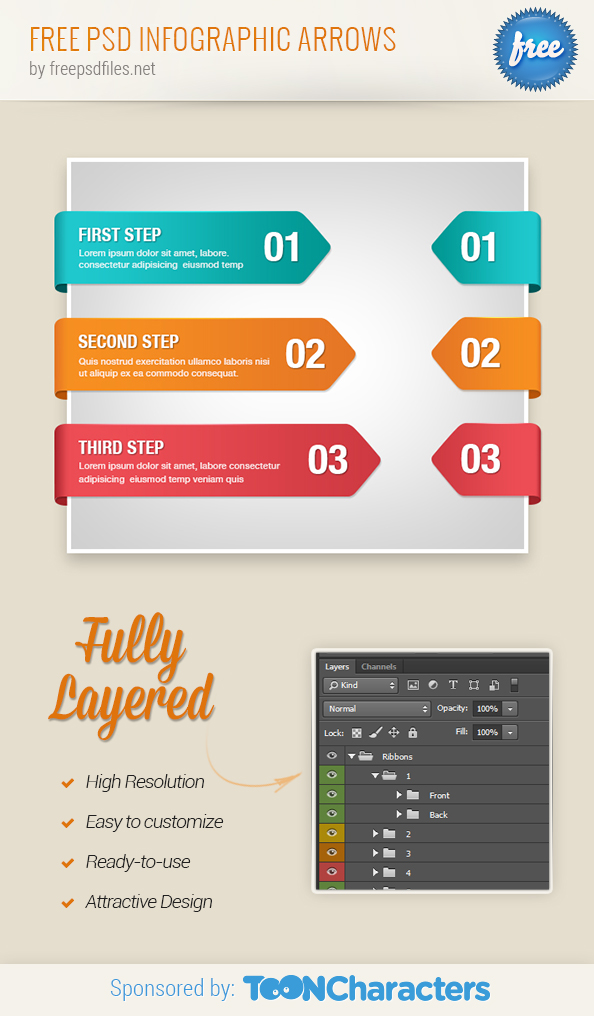 Free PSD Infographic Arrows - Free PSD Files