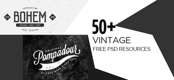 50+ Free PSD Vintage Resources (Badges, Logos and More)