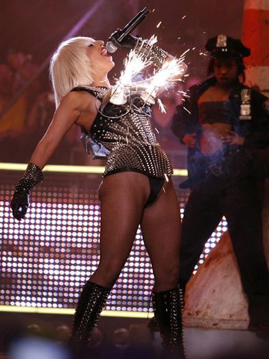 Lady GaGa's breast pyrotechnics which gained the singer even more notoriety.
