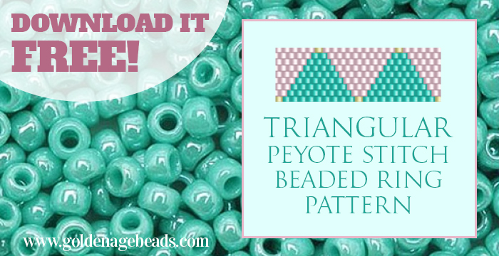 Free Beadweaving Pattern For A Peyote Stitch Ring Golden