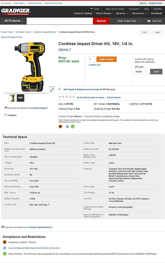 Add to Product Compare from the Item Detail Page \u2013 Grainger