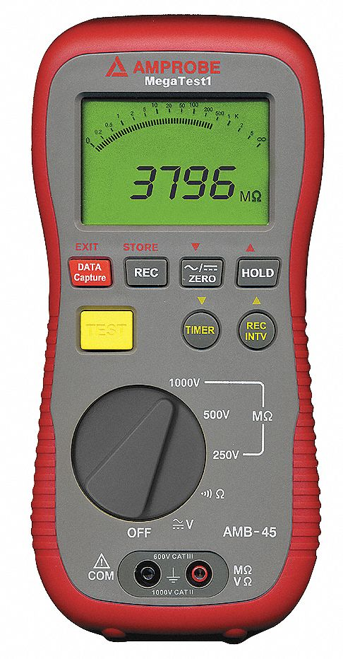 Battery Digital Digital Lcd Battery Operated Megohmmeter Insulation Resistance Range 4 40 400 4000 Megohm