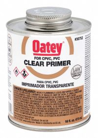OATEY Clear PVC Primer, Size 16, For Use With PVC Pipe And ...