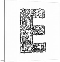 E - Doodle Letter Art Wall Art, Canvas Prints, Framed ...