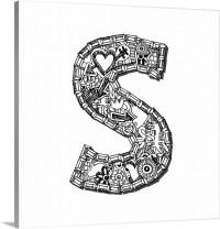 S - Doodle Letter Art Wall Art, Canvas Prints, Framed ...