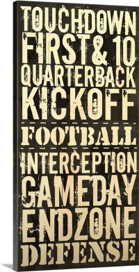 Touchdown Typography Art - Black and White Wall Art ...