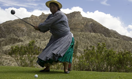 Marta Mamani, an Aymara indigenous woman, at La Paz Golf Club, Bolivia