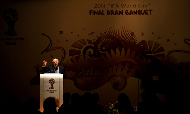 Fifa President Sepp Blatter speaks during the World Cup final draw banquet.