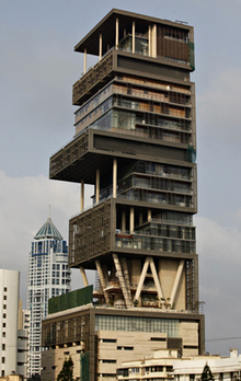 Mukesh Ambani's 27-storey house in Mumbai.