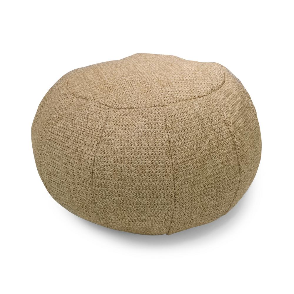 Hampton Bay Natural Woven Round Outdoor Pouf Home Depot