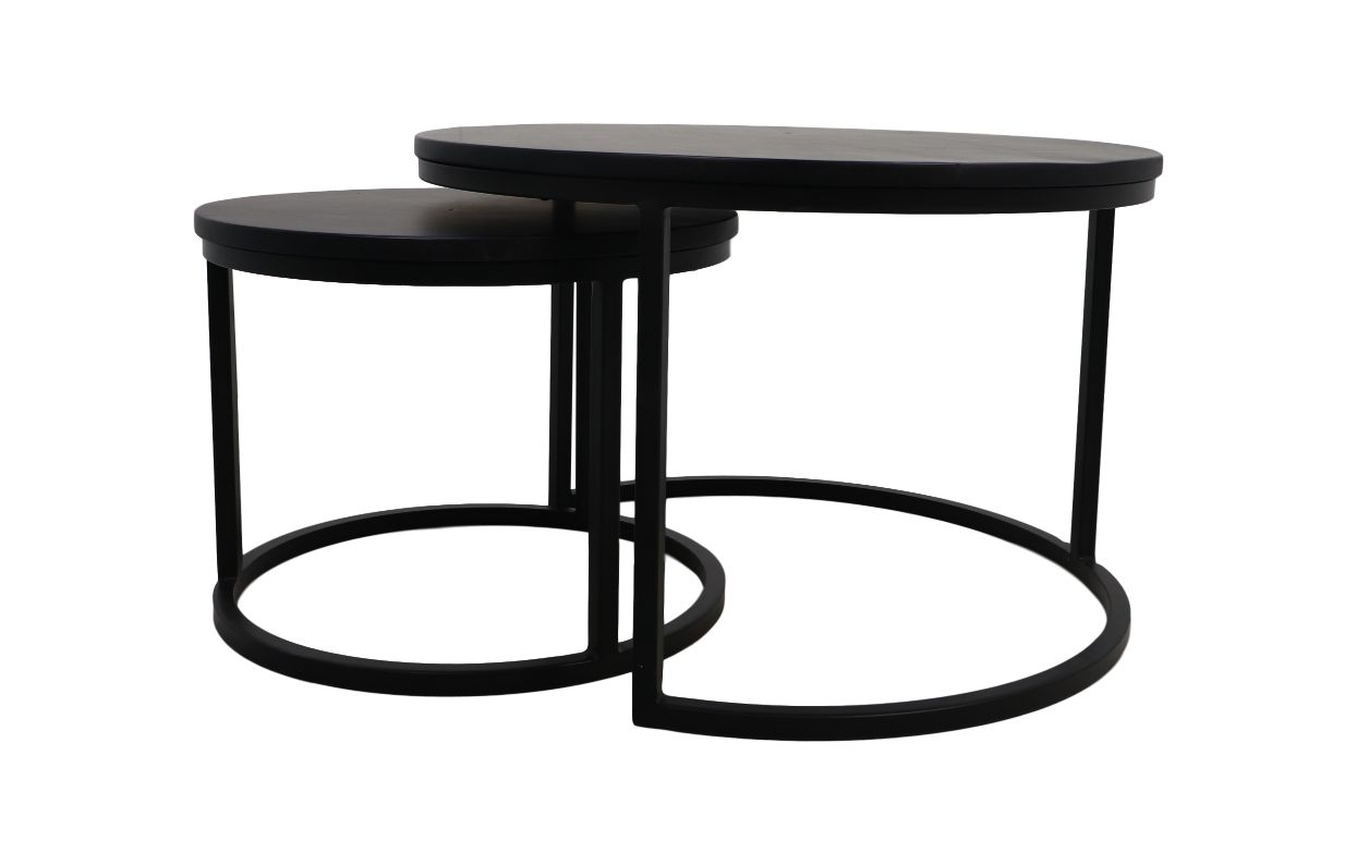 Coffee Table Nero Set Of 2 ø70 Mango Wood Black Coffee Side Tables Henk Schram Meubelen