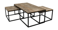 Coffee table - mango wood/iron - set of 3 - Coffeetables ...