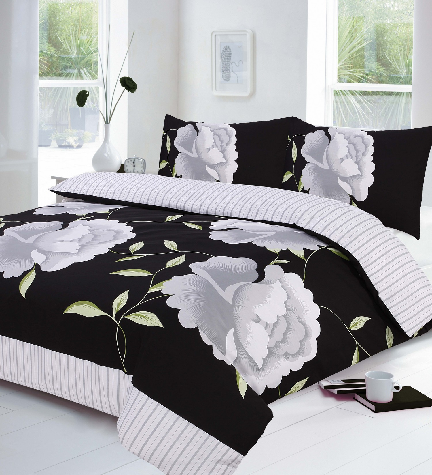 Black White And Grey Duvet Covers Floral Black Grey And White Duvet Quilt Cover And P Case