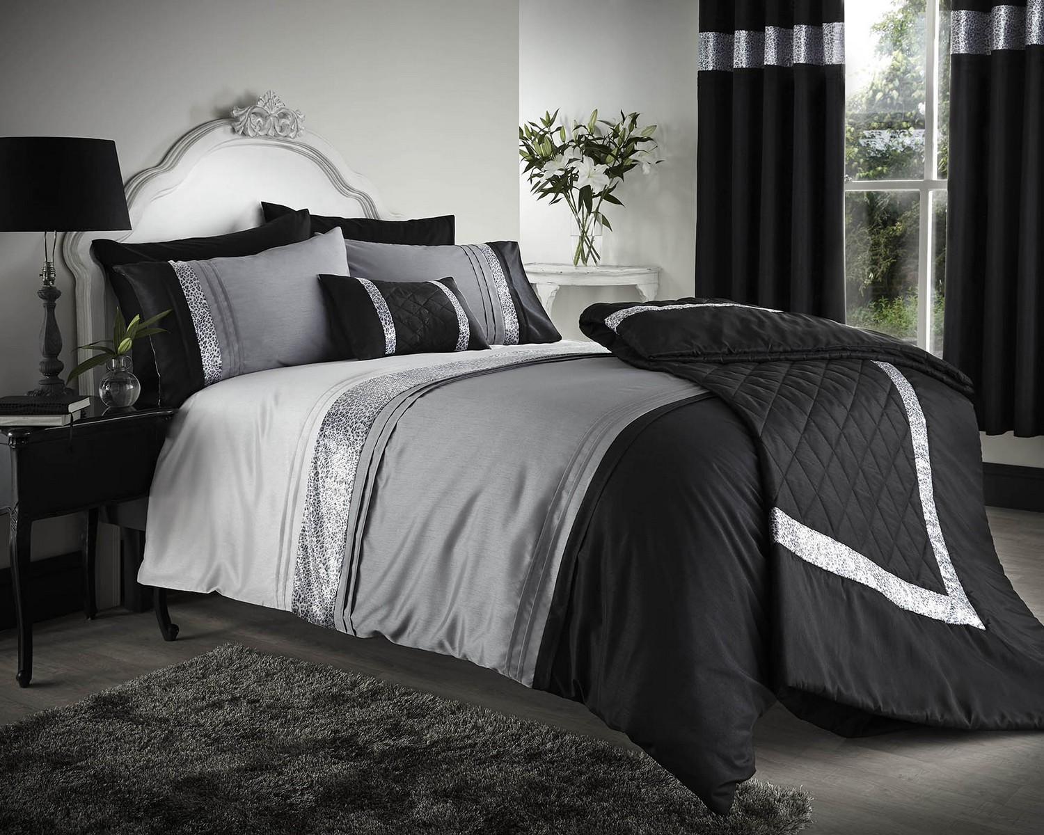 Black And Grey Bedding And Curtains Black Grey Silver Duvet Covers Bedding Bed Set Double