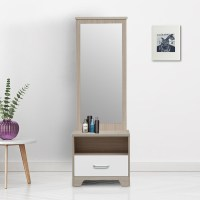 Buy Ambra Dressing Table with Full Mirror in White Colour ...