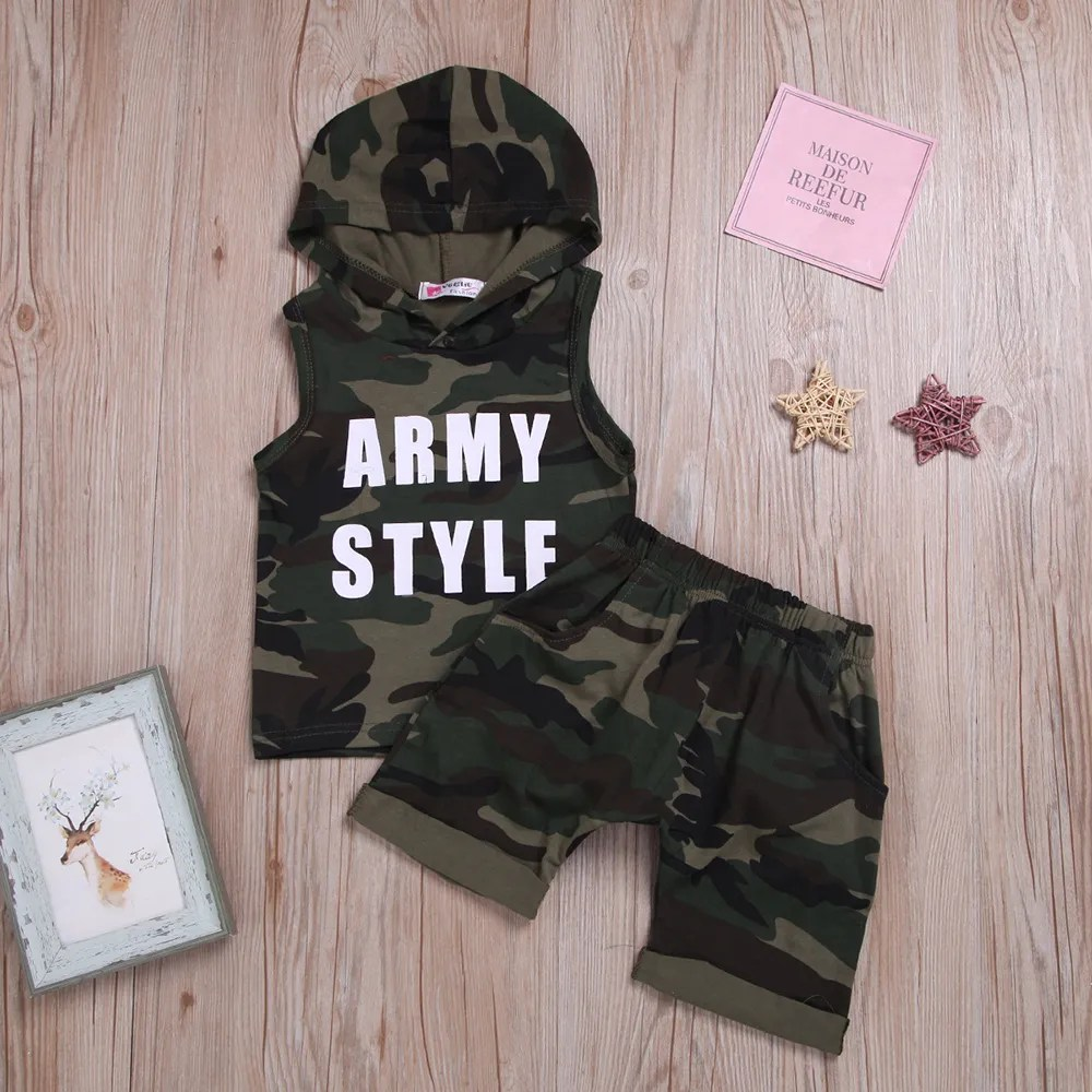 Camo Hoodie India Camouflage Text Print Hoodie And Short Set Green