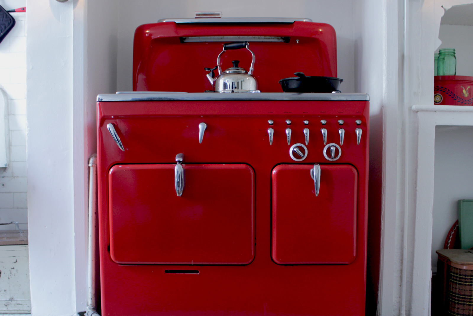 smart options kitchen flooring cheap kitchen flooring Red vintage stove in a home kitchen