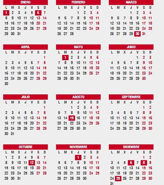 Consulta el calendario laboral 2018 festivos por ciudad, puentes y