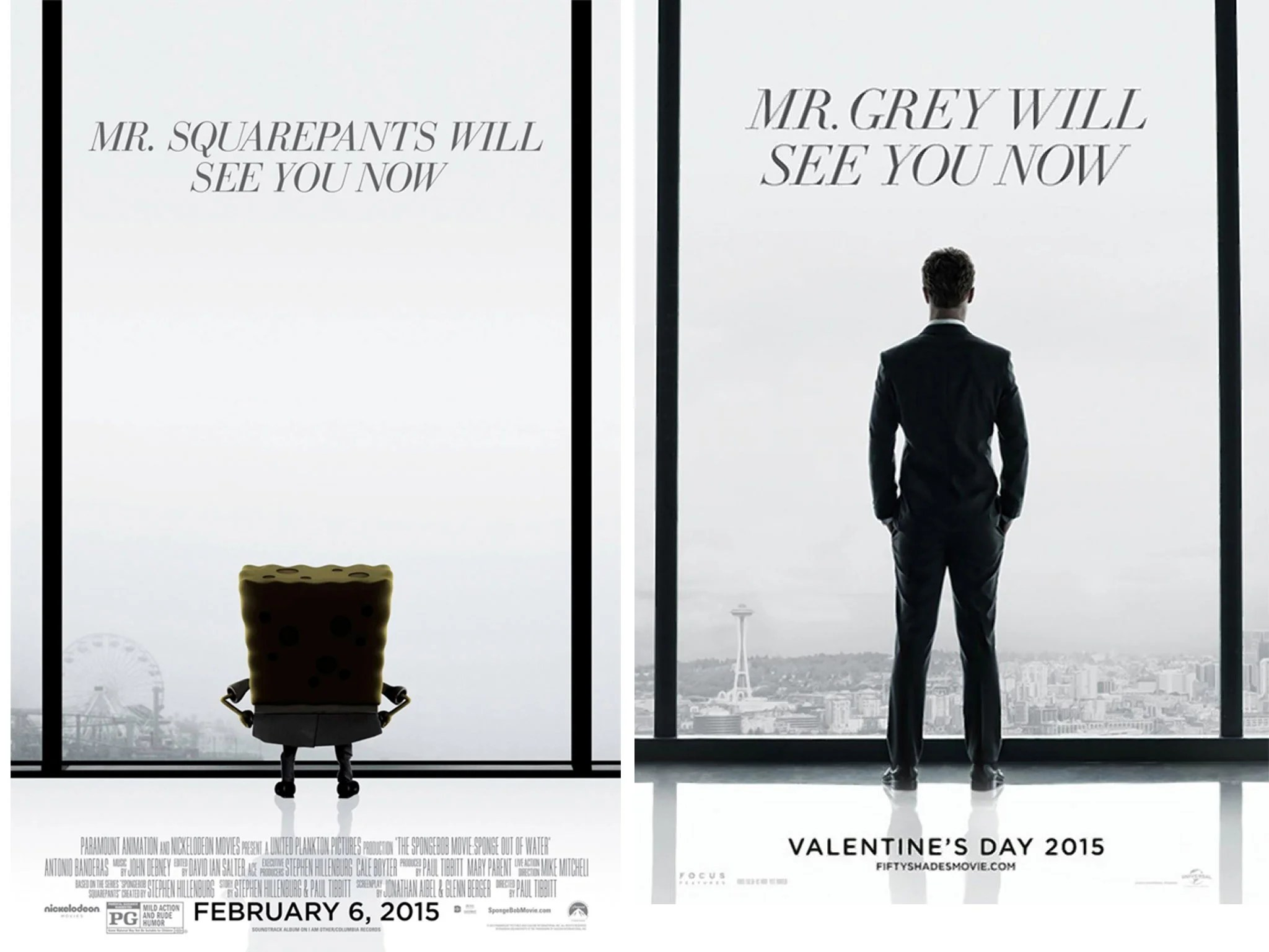 Shads Of Gray Fifty Shades Of Grey Movie Shown Right Next To Spongebob 2 At